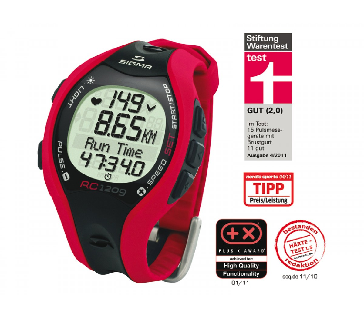 Hartslagmeter Sigma Running Rc12.09 Red
